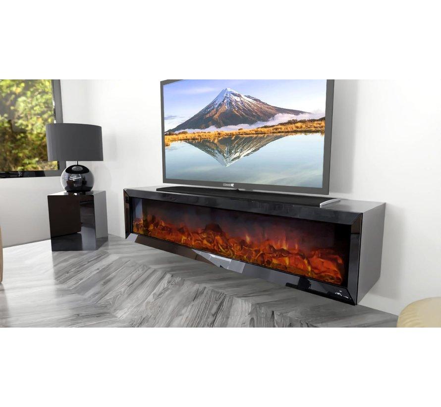Tv-meubel Dubai Spiegelglas - Antraciet glas - incl. elektrische sfeerhaard