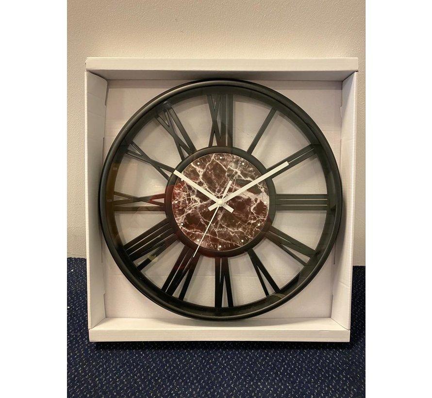 Klok Ferna - Zwart / Zwart- 40 CM - Zwart Marmer