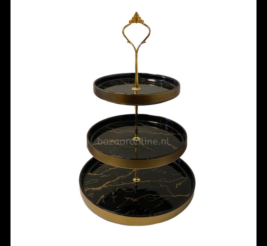 Etagère Zwart / Goud 3-laags -  Marmer design