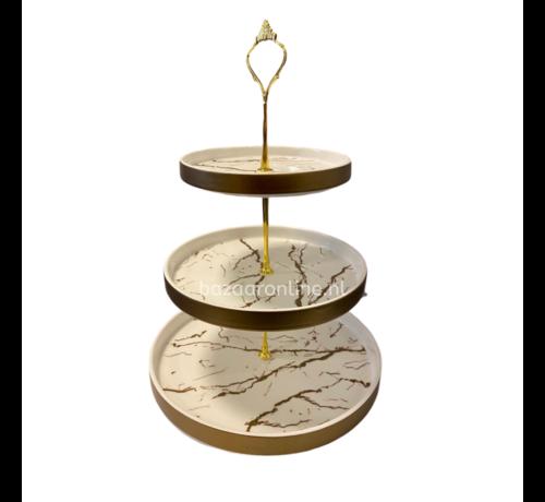Etagère Wit / Goud 3-laags -  Marmer design