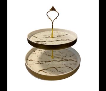 Etagère Wit / Goud 2-laags -  Marmer design