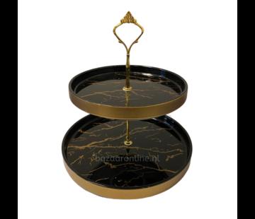 Etagère Zwart / Goud 2-laags -  Marmer design