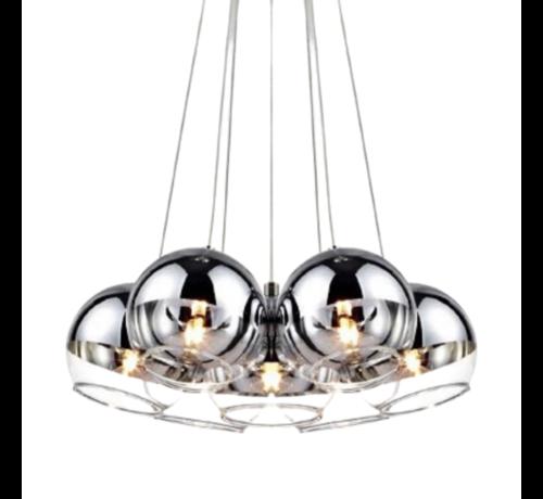 Hanglamp bollen Smoking glass 7 lichts