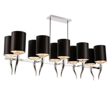 Hanglamp Hoorn met Zilver - Zwarte Kapjes - 10 lichts