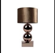 Bollamp - Brons - Tafellamp - 2 Bollen - Vierkante Voet