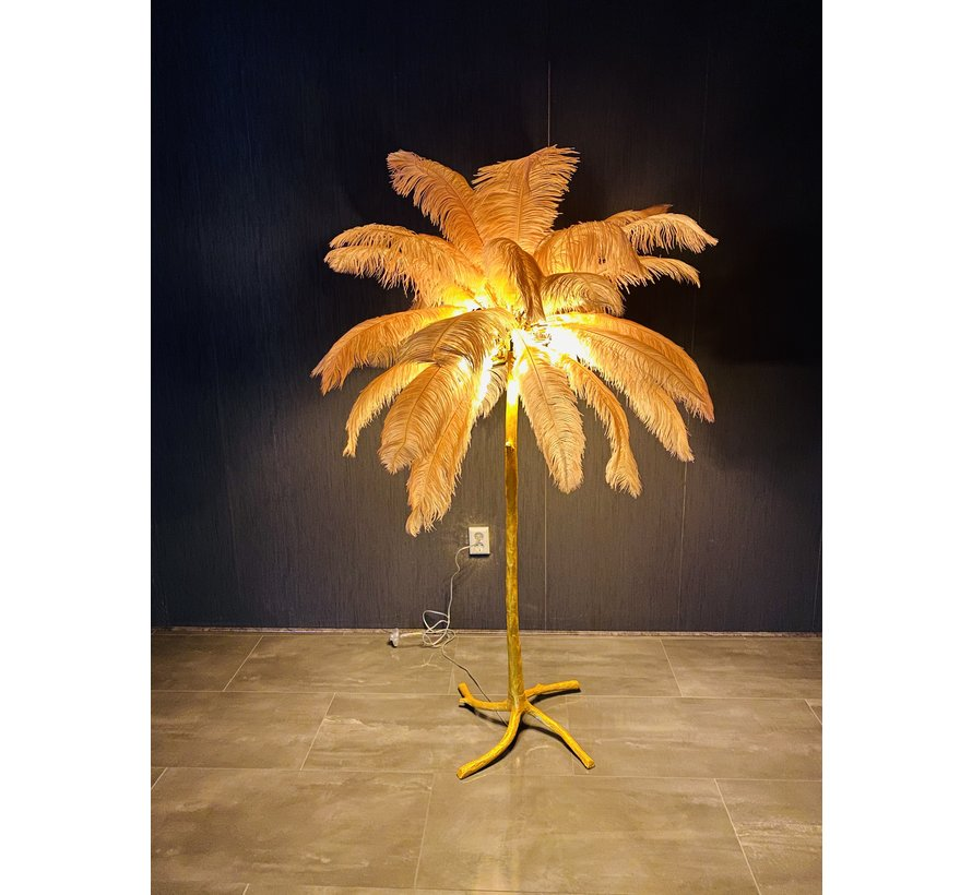 Vloerlamp Palmboom met veren - Gold / Roze