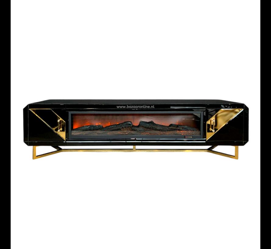 TV-meubel Awanos Spiegel Glas -  Goud - incl. Sfeerhaard