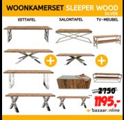 WOONKAMERSET SLEEPER WOOD SILVER