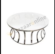 Salontafel Selina Zilver - MelkWit glas