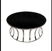Salontafel Selina Zilver - Zwart glas