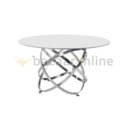 Eettafel Calvin Zilver Wit glas