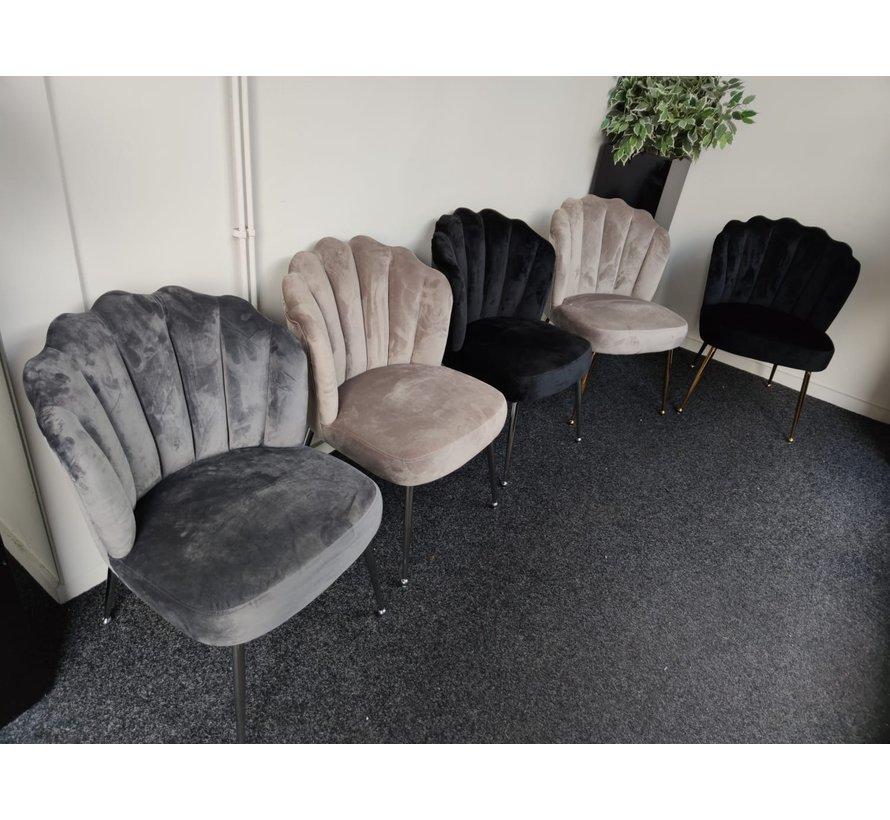 Schelp stoel Lyon Velvet Taupe / Zilver
