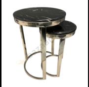 Bijzettafel Doblo Mini Zilver Zwart Marmer