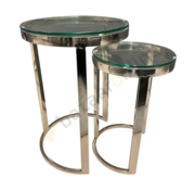 Bijzettafel Doblo Mini Zilver Helder Glas