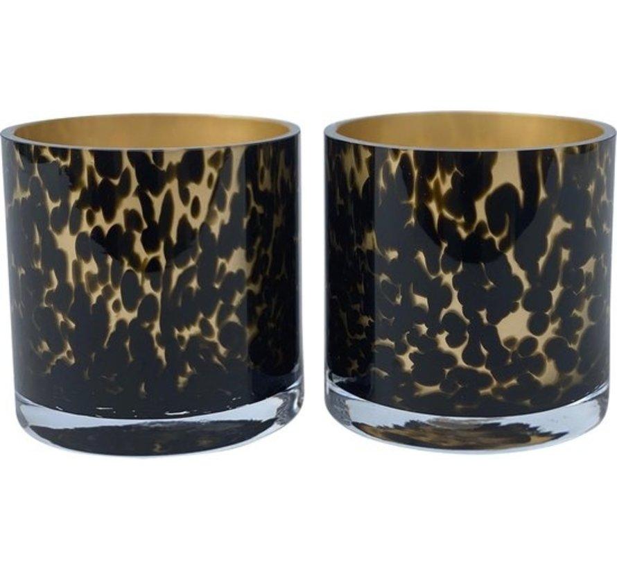 Gold Cheetah waxinelichthouder 2 stuks Ø9 x H9 cm