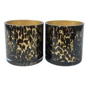 Gold Cheetah waxinelichthouder 2 stuks Ø15 x H15 cm