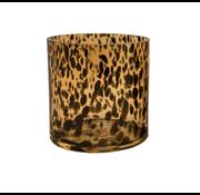 Gold Cheetah waxinelichthouder 2 stuks Ø12 x H12 cm