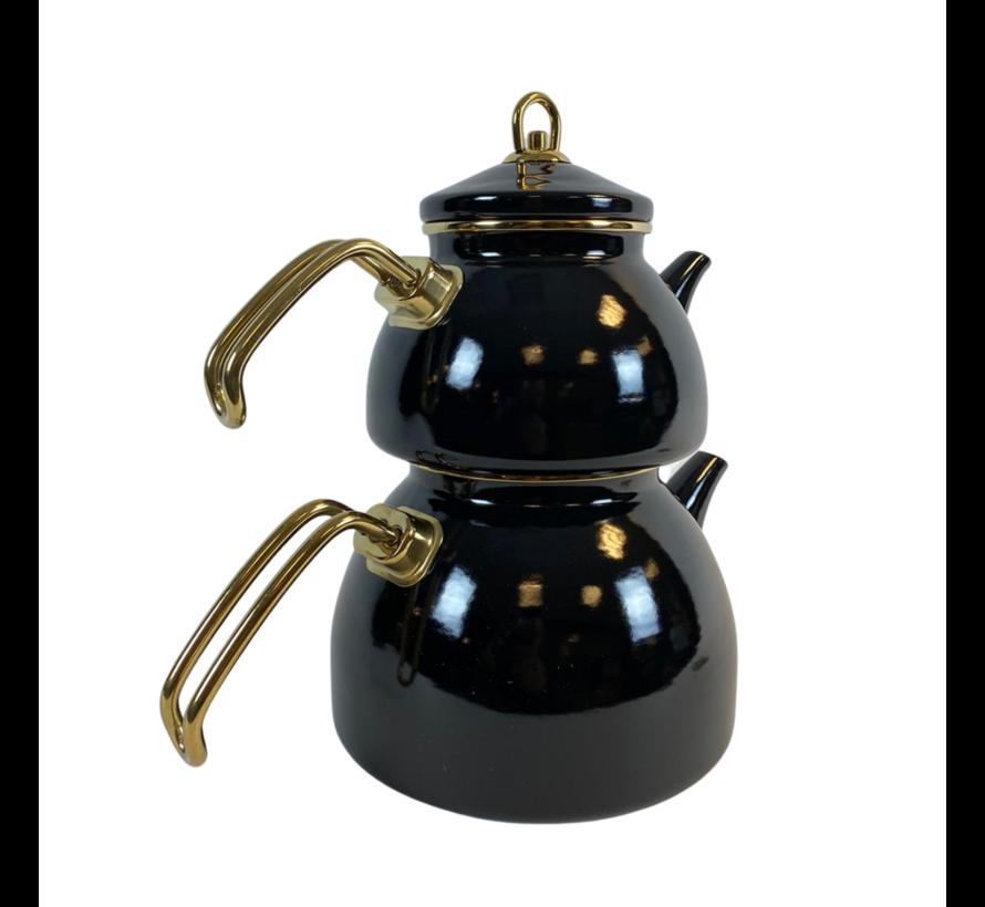 Marmer Look Thee Pot Zwart- 3 liter - Caydanlik