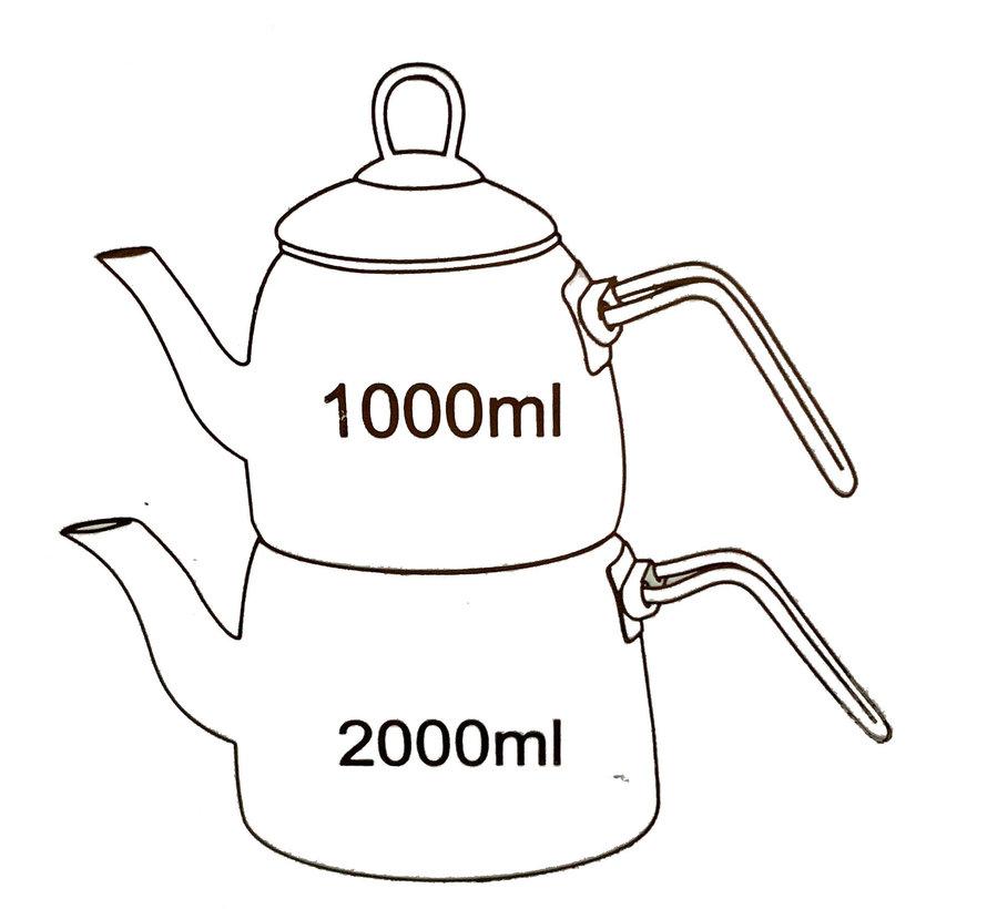 Marmer Look Thee Pot Grijs- 3 liter - Caydanlik