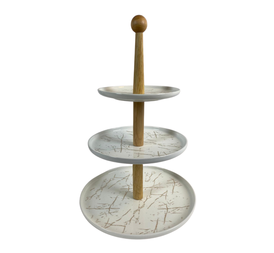 Etagère Bamboe Wit / Goud 3-laags -  Marmer design