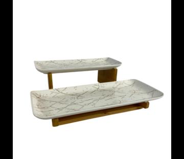Schalenset Bamboe Wit / Goud 2-laags -  Marmer design