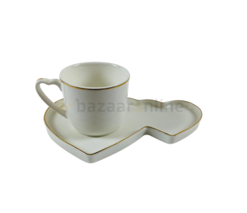 Koffieset - Hearts  - Wit / Goud