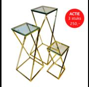 Zuil Casa Goud helder glas - set van 3