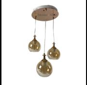 Hanglamp Tro Gold/Rosé Smoking glass  3 lichts