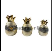 Decoratieset Pineapple - 3 delig - goud