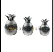 Decoratieset Pineapple - 3 delig - zilver