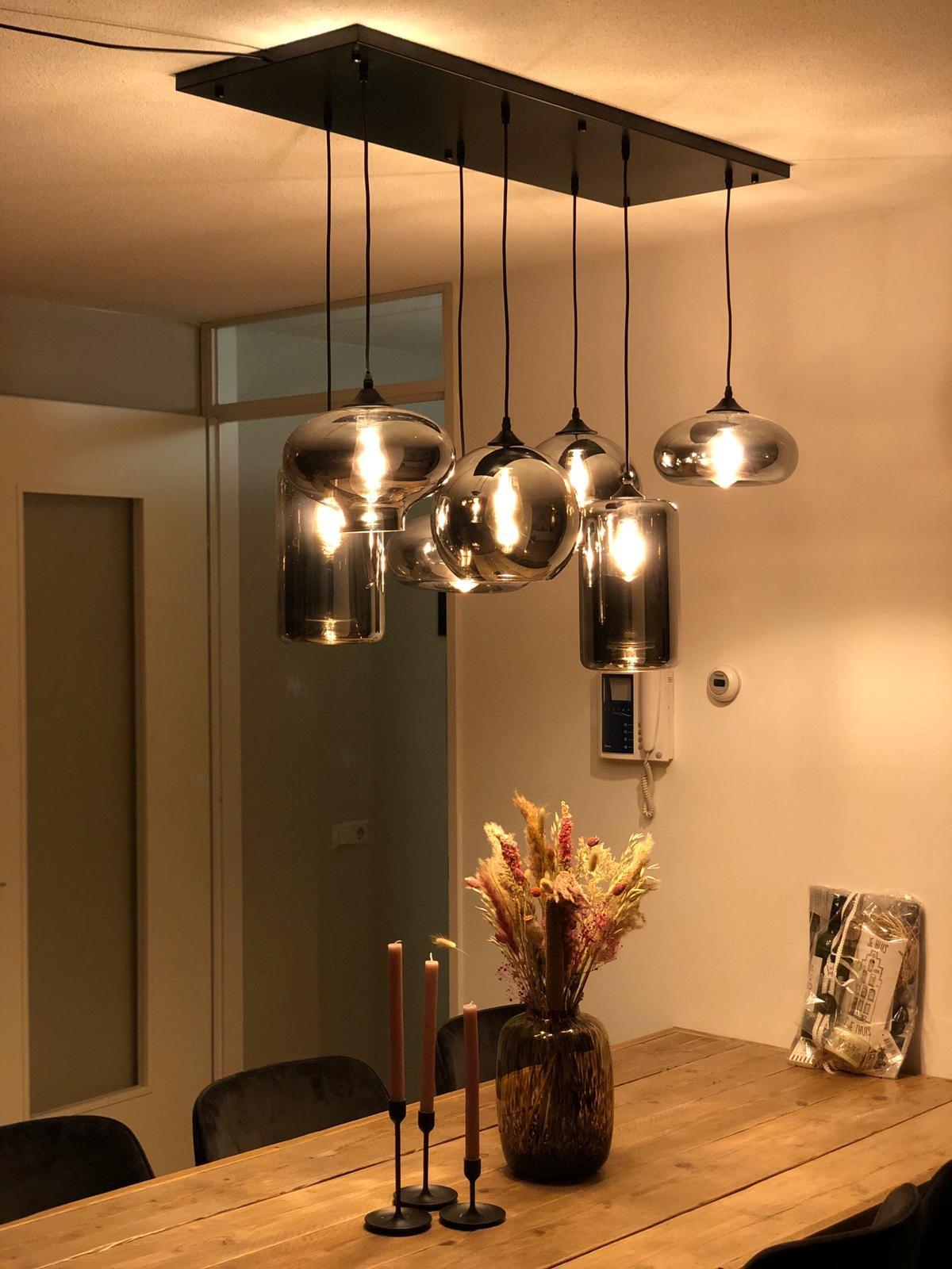 Hanglamp met meerdere glazen bollen
