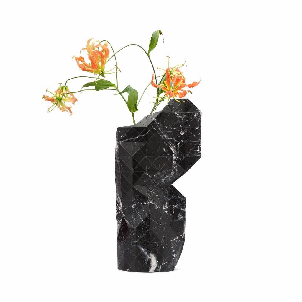 Pepe Heykoop Papier Vase Abdeckung Marble Black Groß