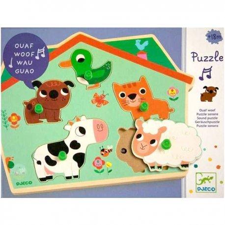 Djeco Puzzel met geluid Ouaf Woof