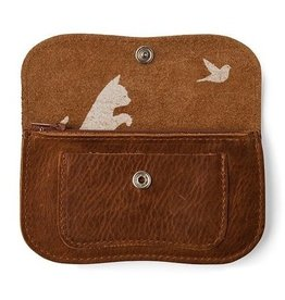 Keecie Wallet Cat Chase Small   Cognac Used Look