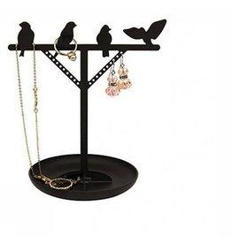 Kikkerland Jewelry holder Bird is the Word black