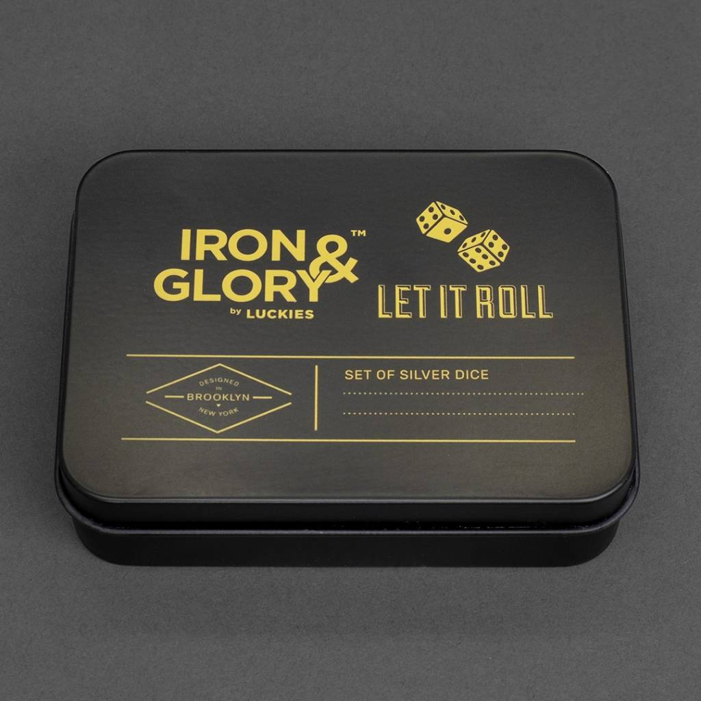 Iron & Glory Set met 2 Dobbelstenen Let it Roll zilver