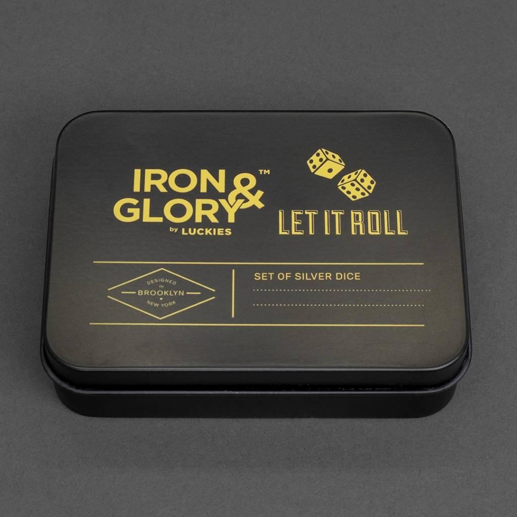 Iron & Glory Set mit 2 Würfeln Let it Roll silber