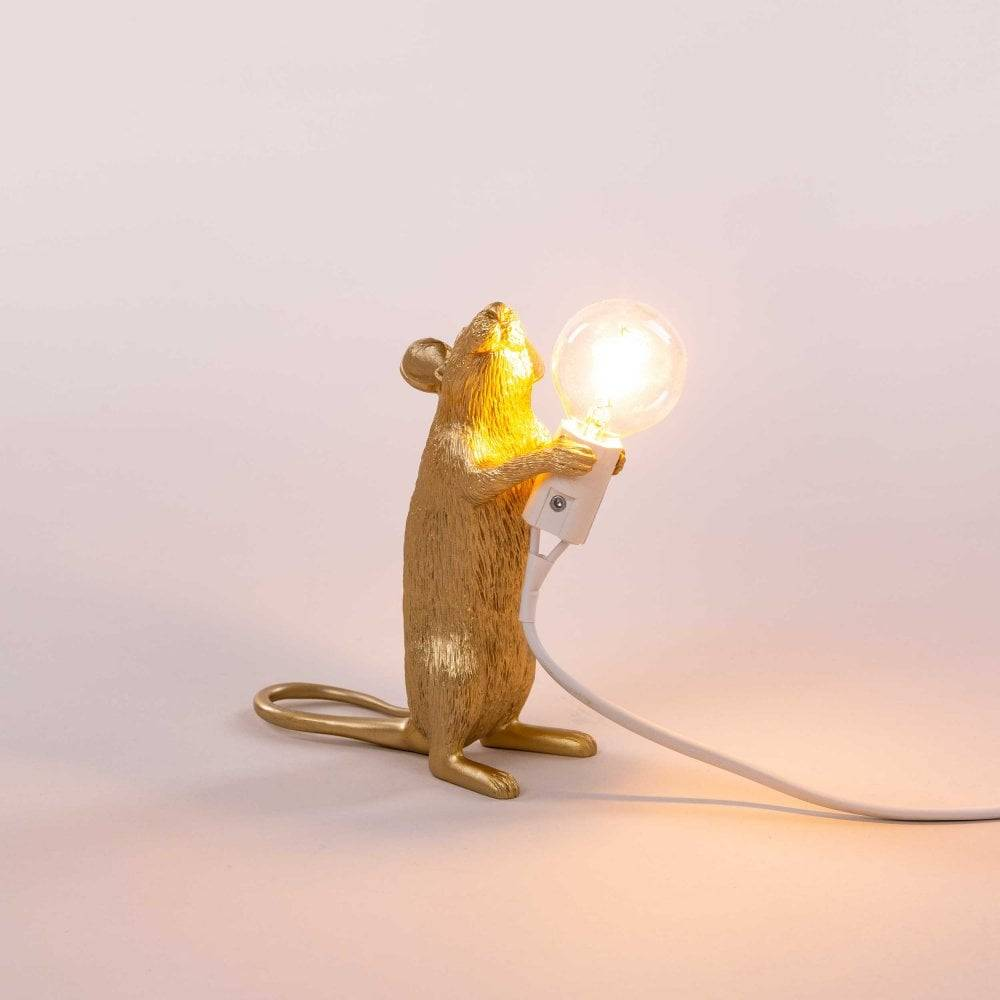 Seletti Lamp Mouse stehend gold