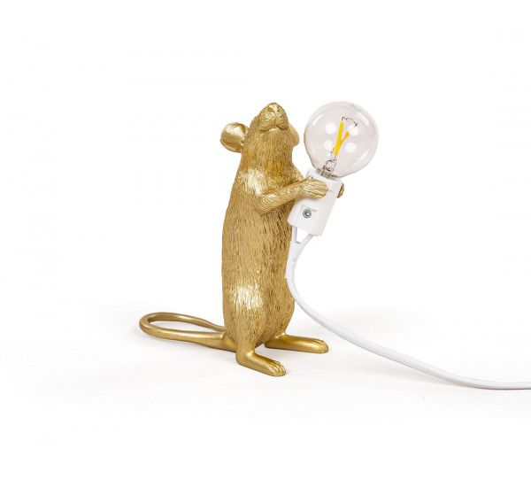 Seletti Lamp Mouse Staand goud