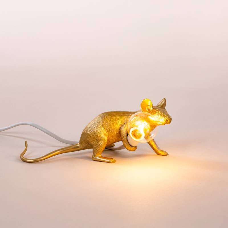 Seletti Lamp Mouse liegend gold