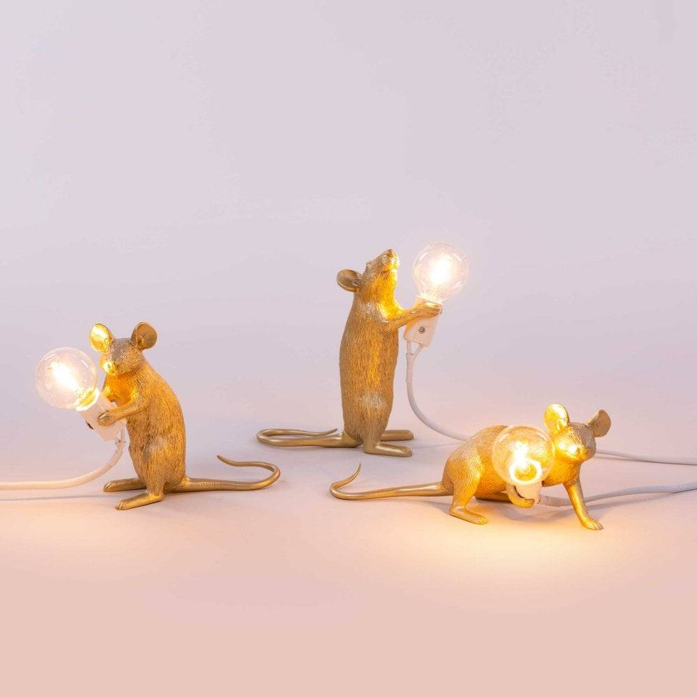 Seletti Lamp Mouse liggend wit  goud