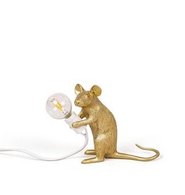 Seletti Lamp Mouse zittend goud