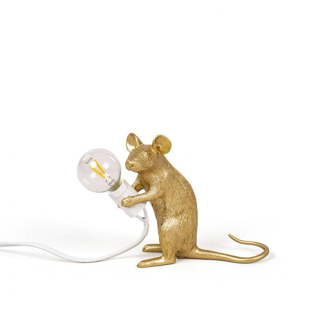 Seletti Lamp Mouse zittend goud