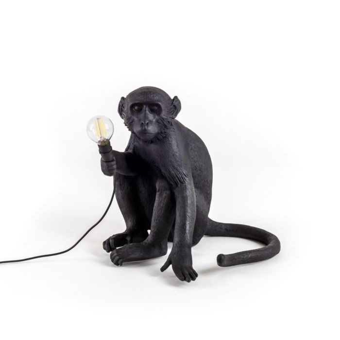 Seletti Lamp Monkey zittend zwart