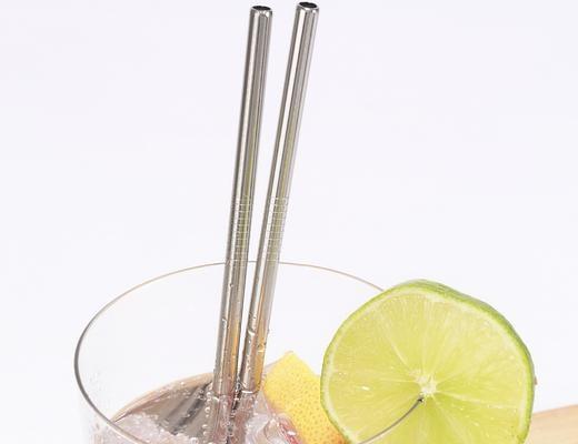 Kikkerland Stainless steel straws with brush