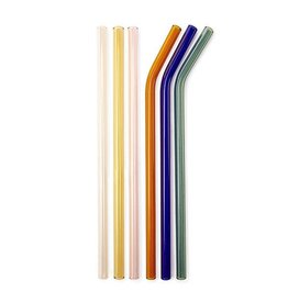 Kikkerland Glass straws with brush