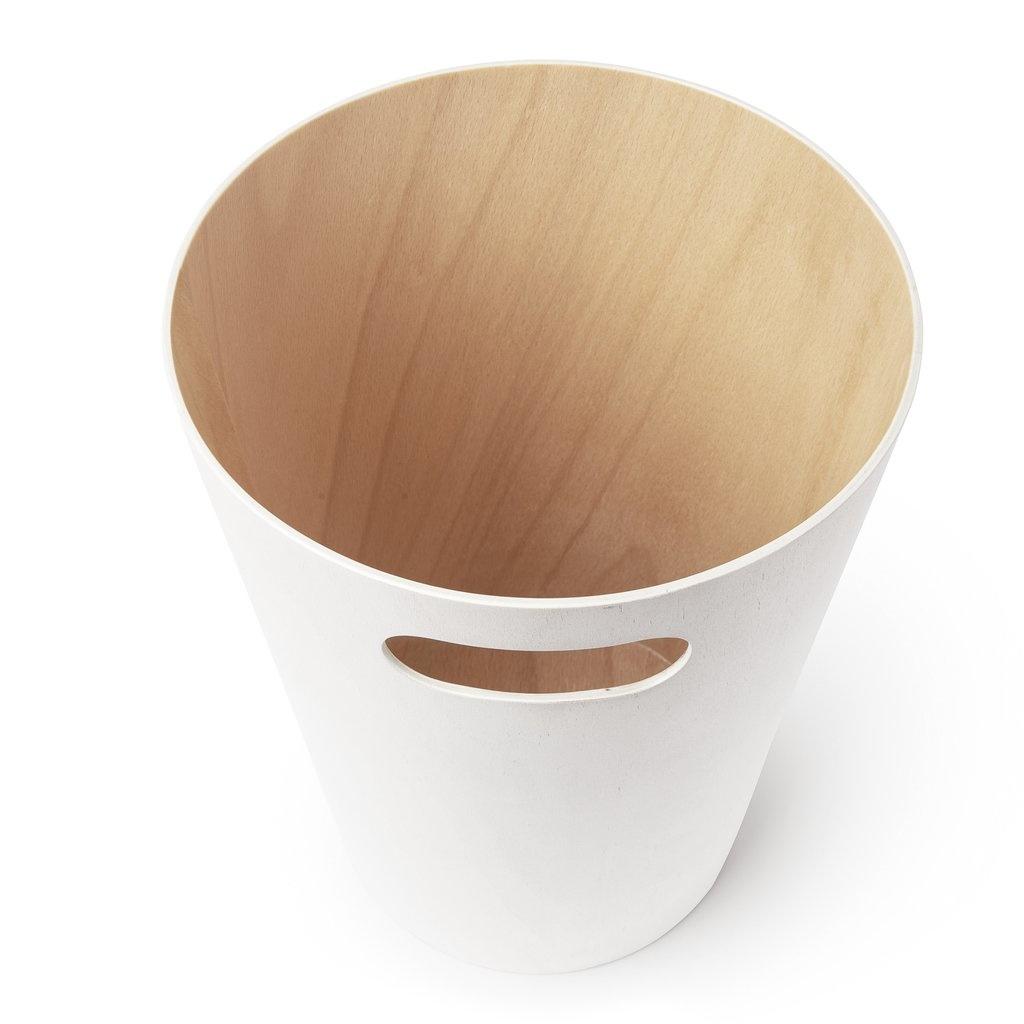 Umbra Trash can Woodrow white / natural 7,5 L