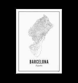 Wijck Poster Plattegrond Barcelona 21 x 30 cm