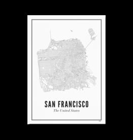 Wijck Poster Stadtplan San Francisco 21 x 30 cm