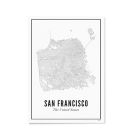 Wijck Poster Stadtplan San Francisco 30 x 40 cm
